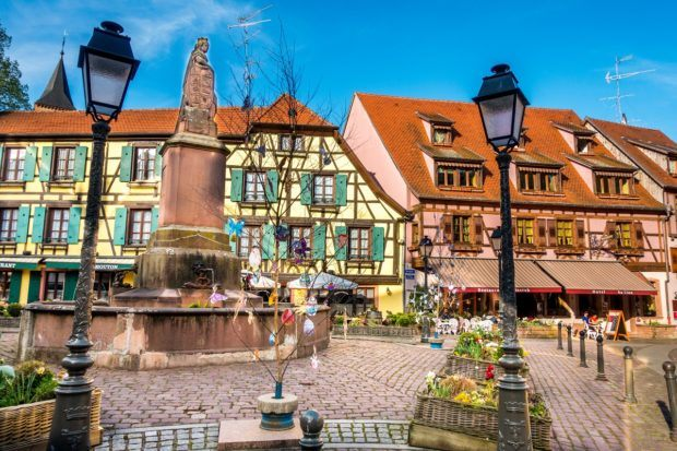 One of the ,squares in Ribeauville, France, a fun stop on the Route des Vins d'Alsace