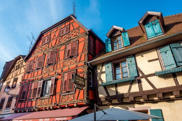 Half-timbered buildings in Ribeauville, France