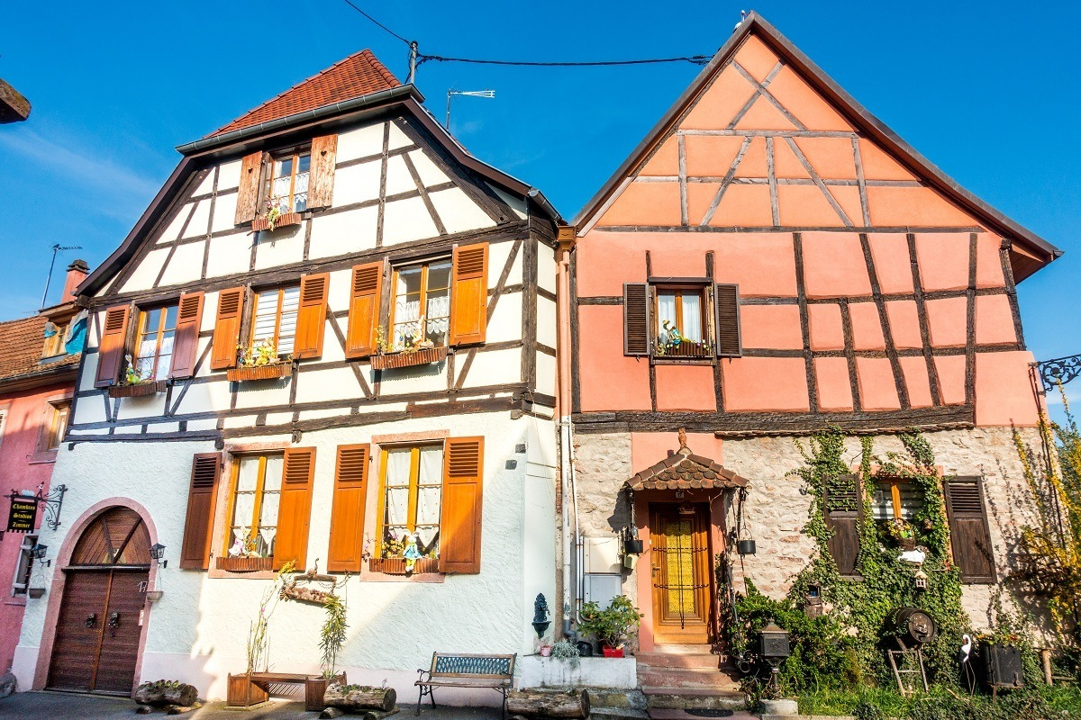 Some of the beautiful half-timber buildings in Alsace France