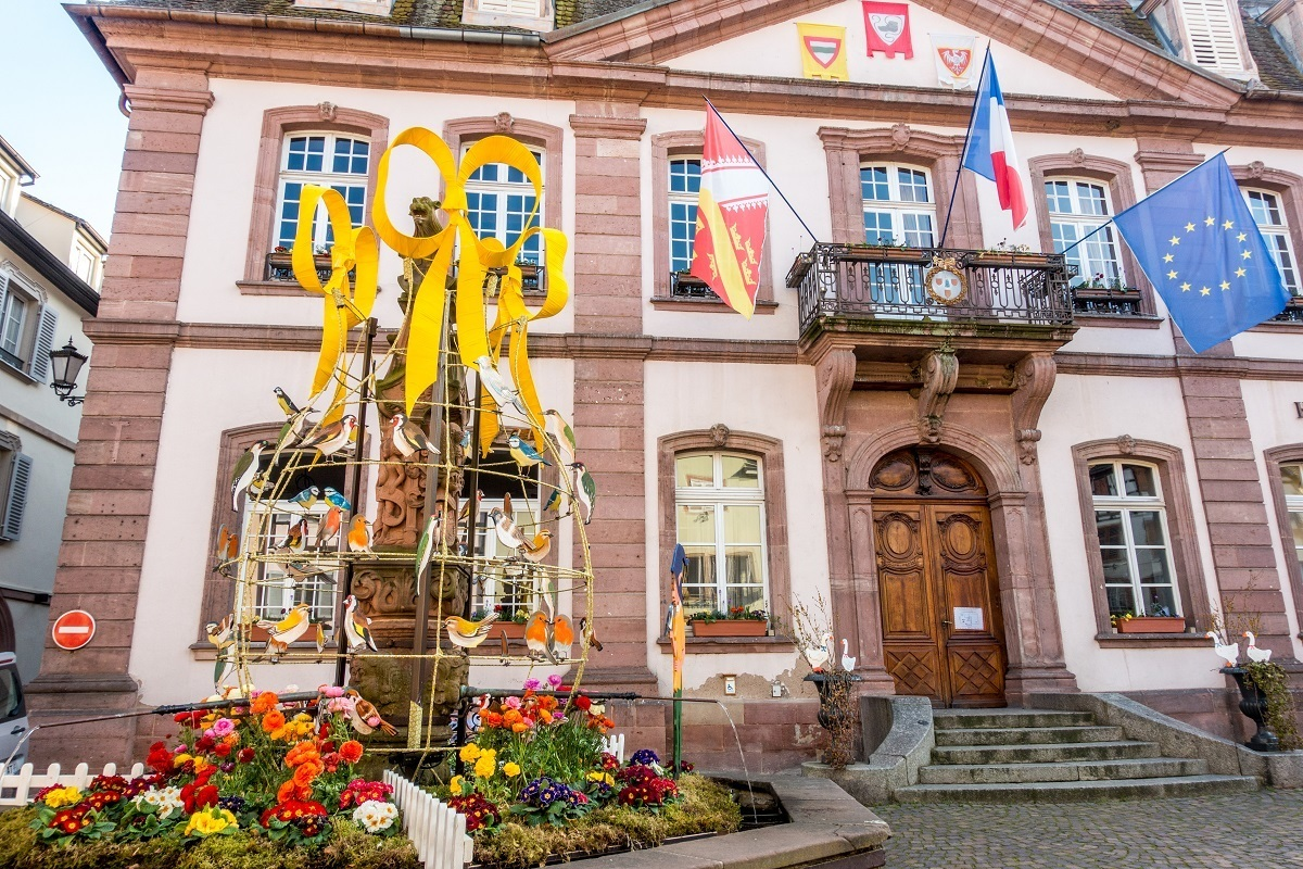 Easter decorations in front of the Hotel de Ville in Rebeauville, France