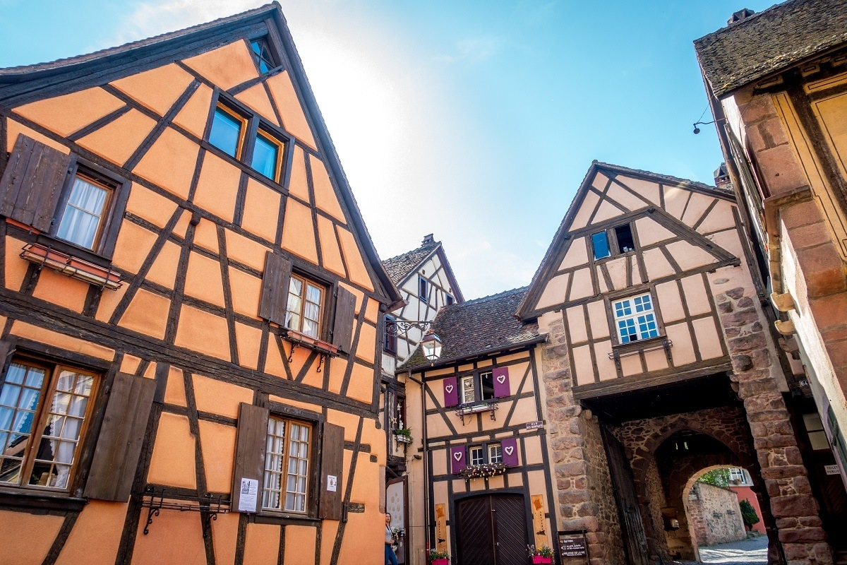 Buildings and city gate in the Alsace wine region