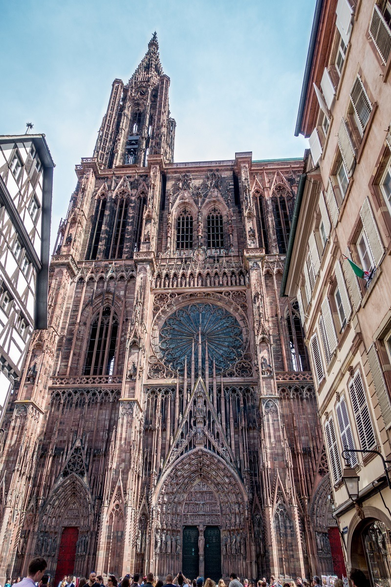 Carved and decorated facade of Strasbourg Cathedral