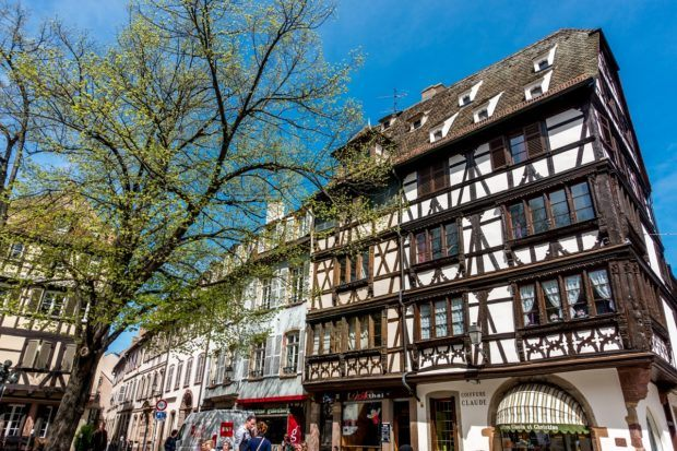 Strasbourg, France, the largest city in Alsace, features many beautiful half-timbered buildings