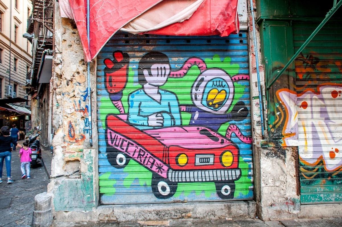 Street art mural in La Vucciria market in Palermo