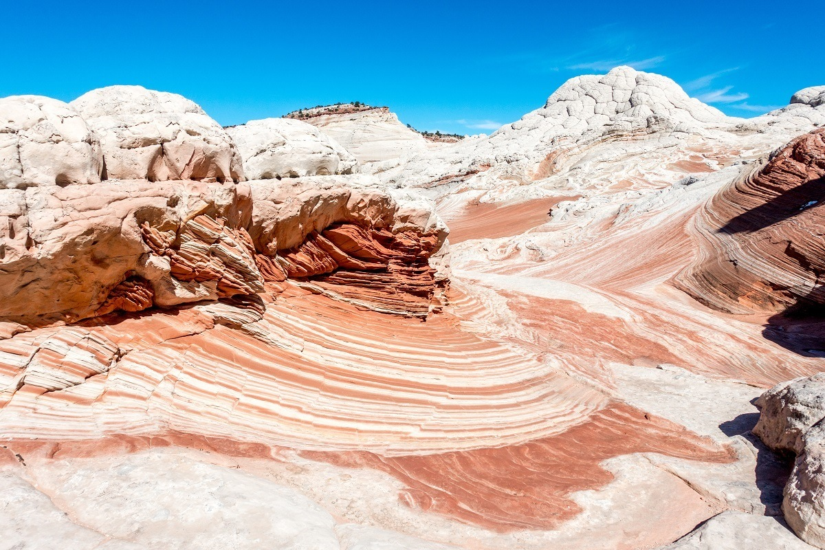 The red and white sandstone layers in the Arizona desert