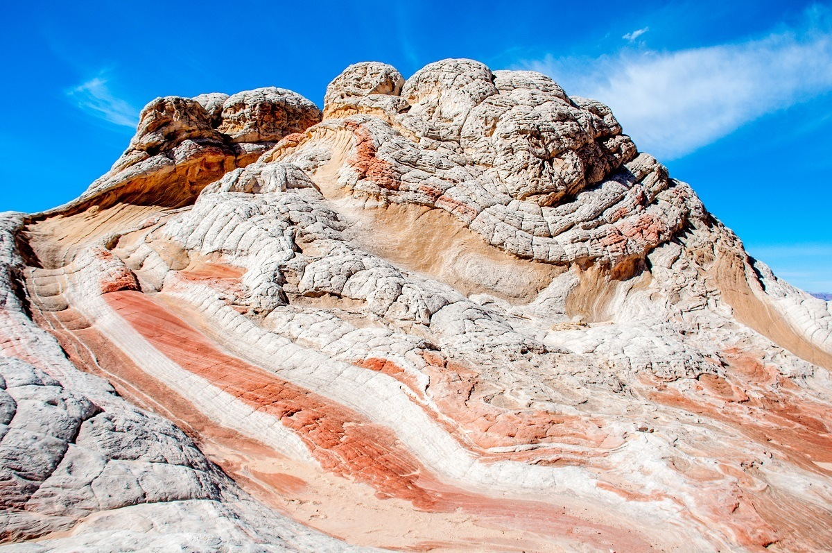 Red, yellow, orange and white rock formation at the White Pocket Arizona