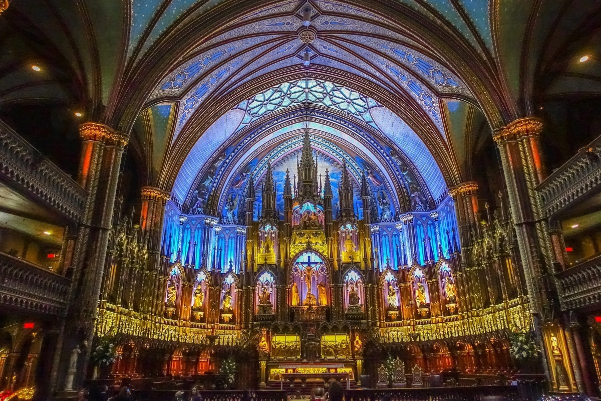 Sanctuary of Notre-Dame Basilica with colorful lights