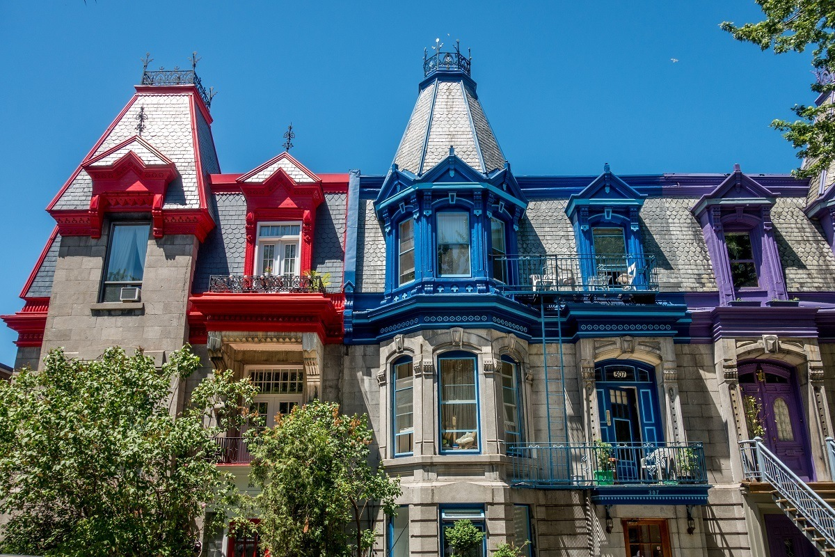 Brightly-painted Victorian buildings