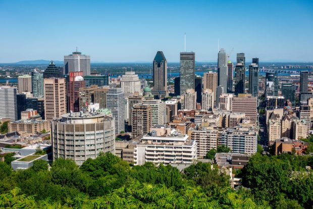 Seeing the view of downtown from the top of Mount Royal is one of the best things to do in Montreal Canada