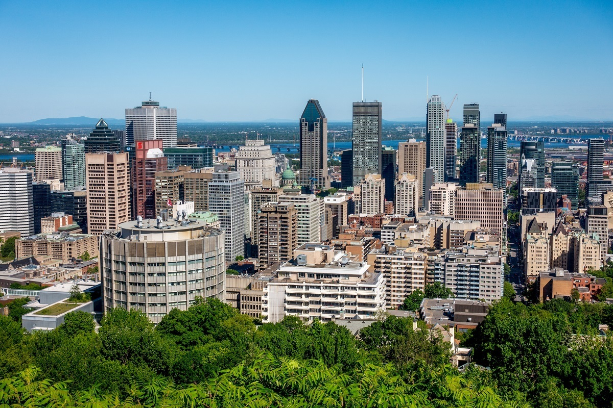 The view of downtown Montreal, Canada, from the top of Mount Royal