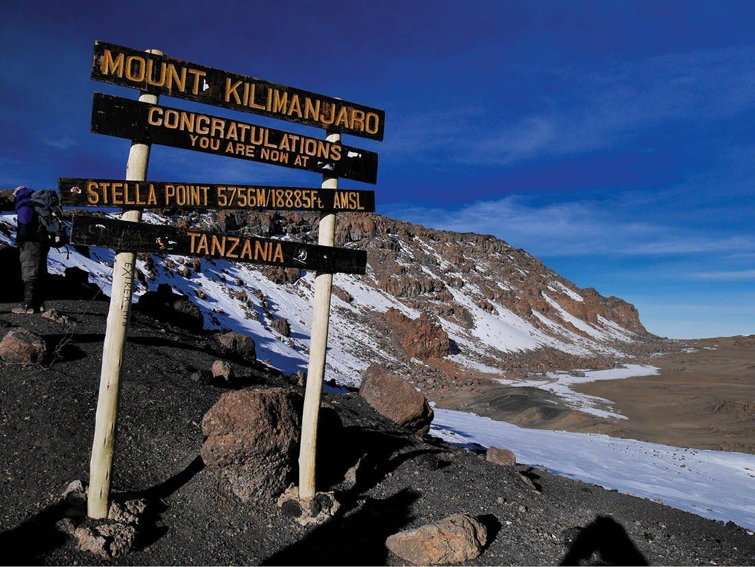 Sign on the Mt Kilimanjaro mountain trekking route in Africa