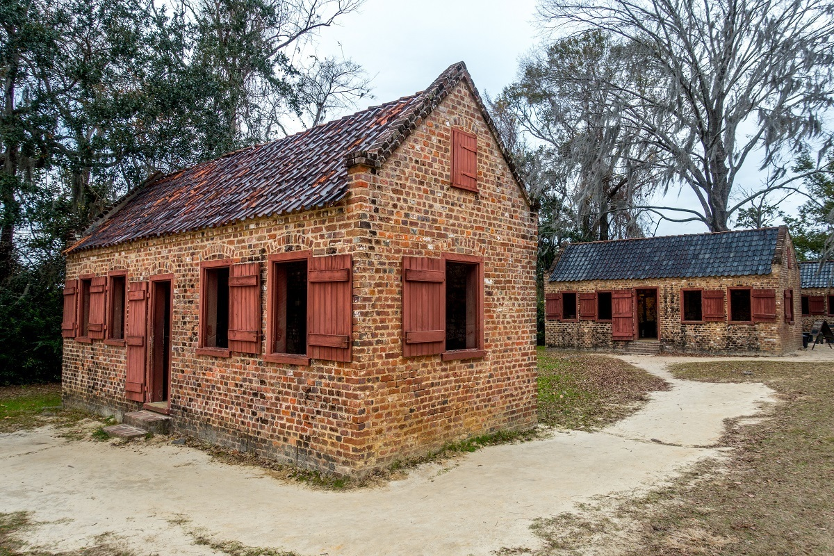 Exhibits in the original slave cabins highlight culture and plantation life for enslaved people at Boone Hall Plantation SC