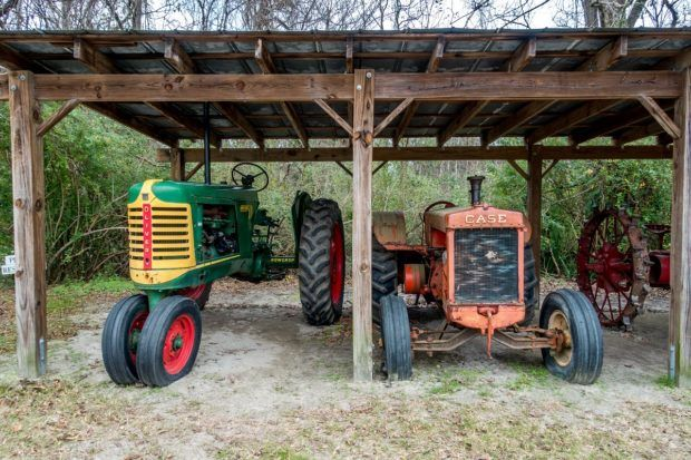 Farm equipment at Boone Hall, one of the oldest plantations in South Carolina