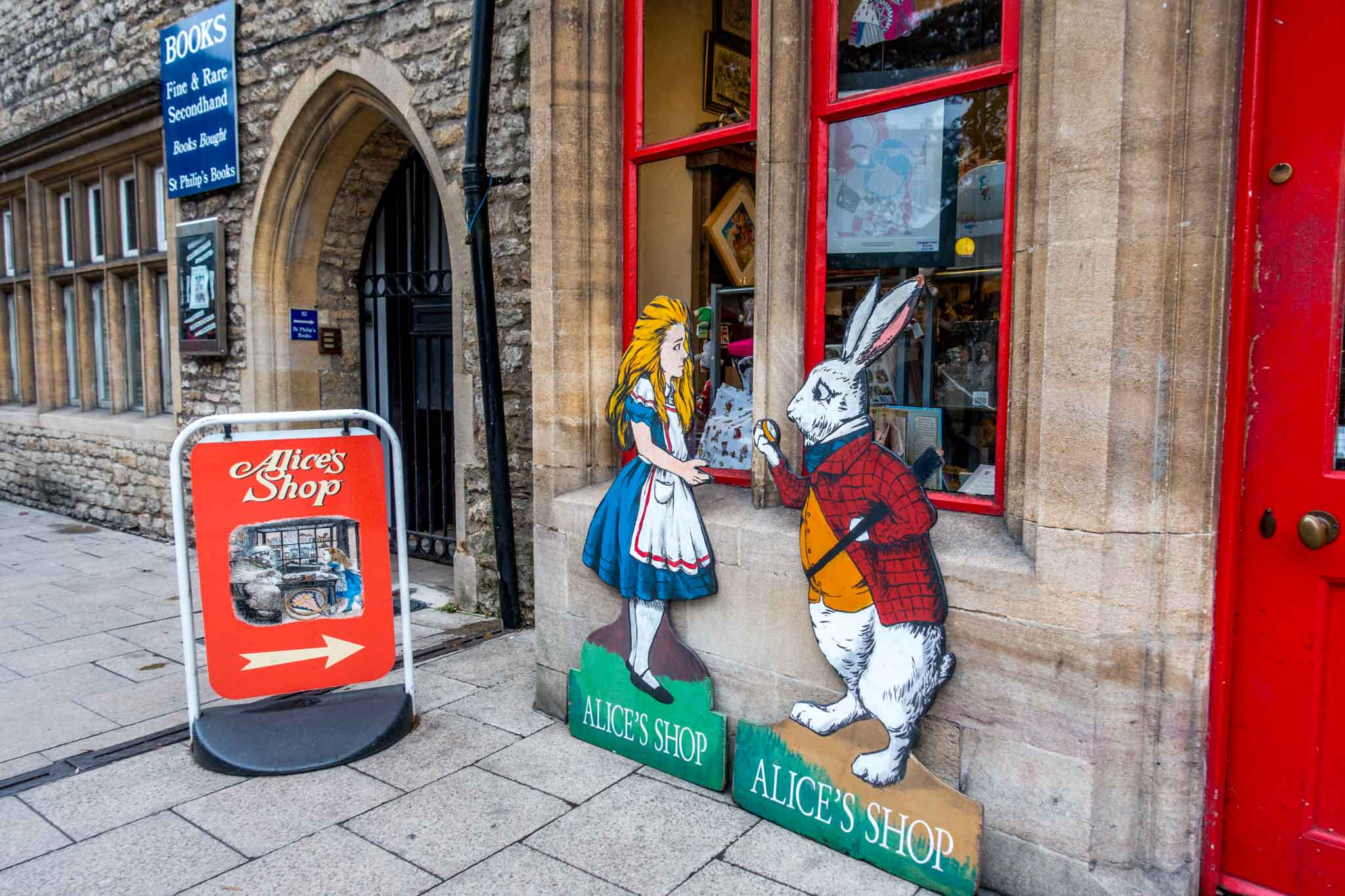 Signs and exterior of the Alice Shop, inspired by Alice in Wonderland