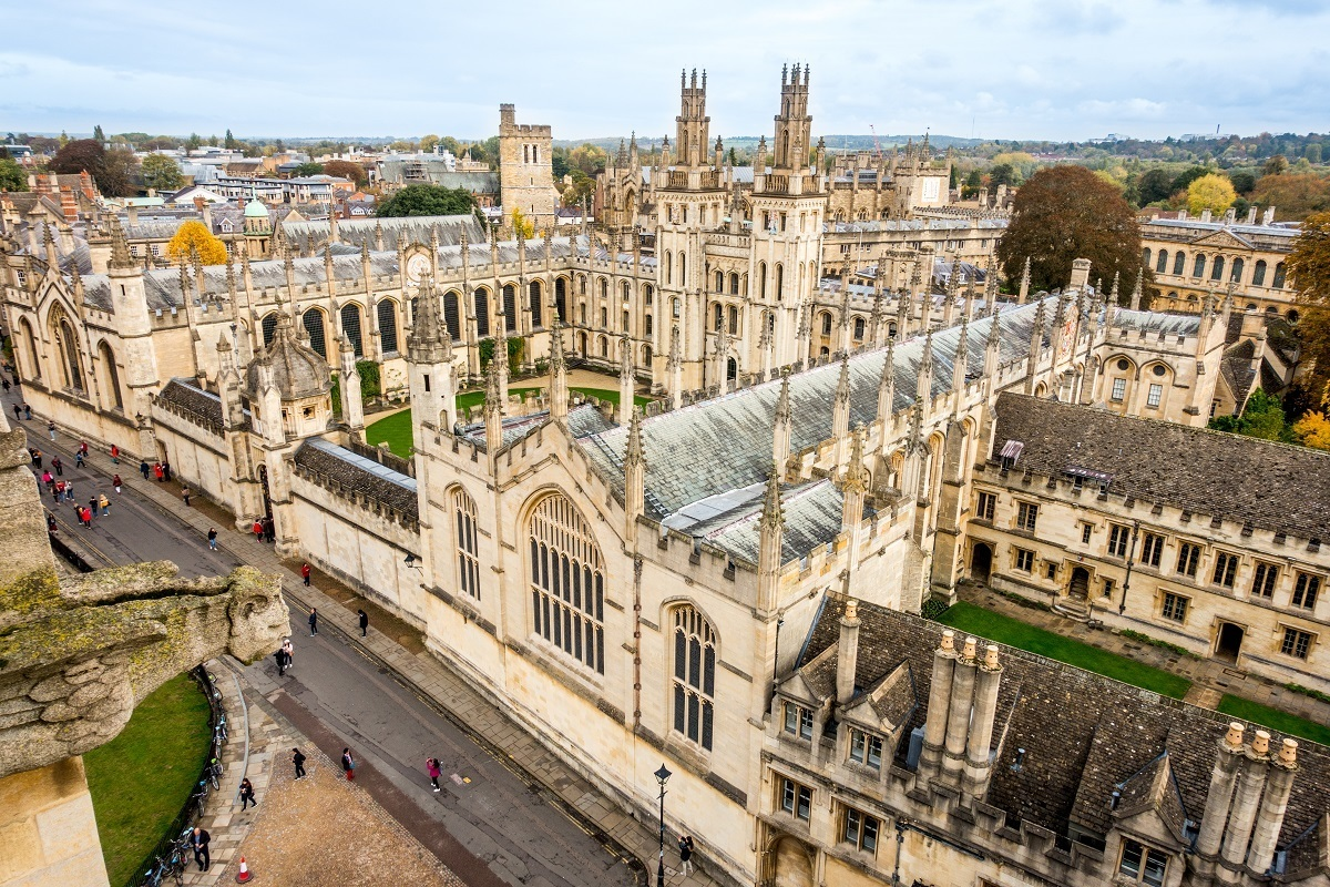 Buildings with spires at All Souls College seen from above