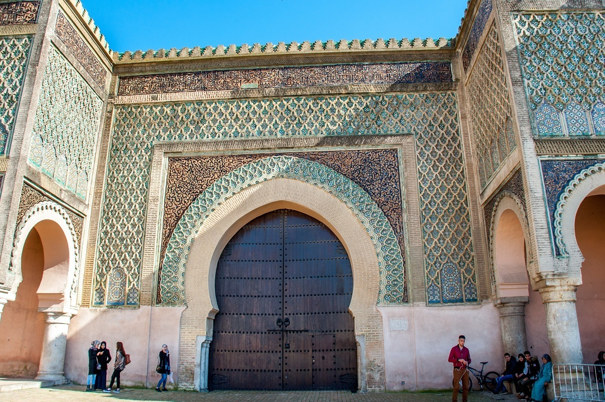 Bab Mansour, the historic wooden and tile gate of Meknes