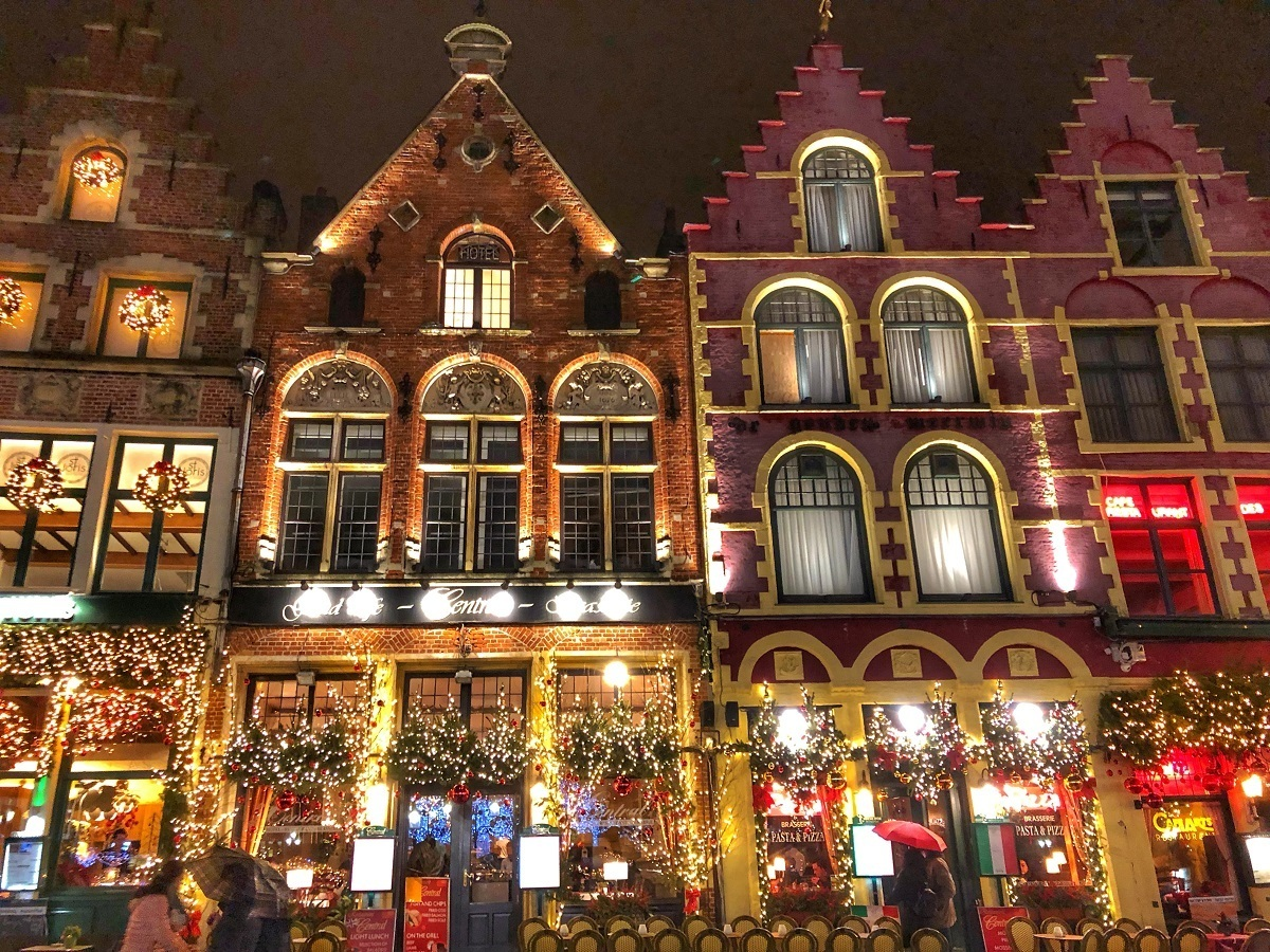 Grote Markt in Bruges, Belgium, lit up for Christmas