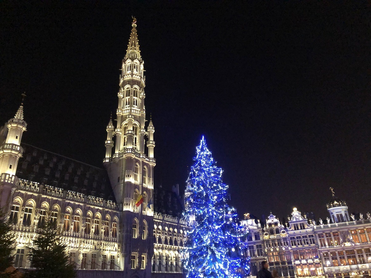 Gorgeous Grand Place in Brussels, Belgium, lit up at night at Christmas
