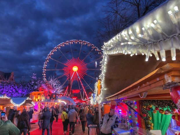 Christmas market at Place Sainte Catherine in Brussels, Belgium