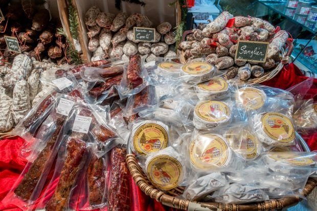 Try the local foods like cheese and sausage during a Colmar France Christmas