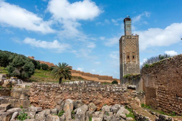 Minaret and stork at the Chellah UNESCO World Heritage Site in Rabat. Morocco
