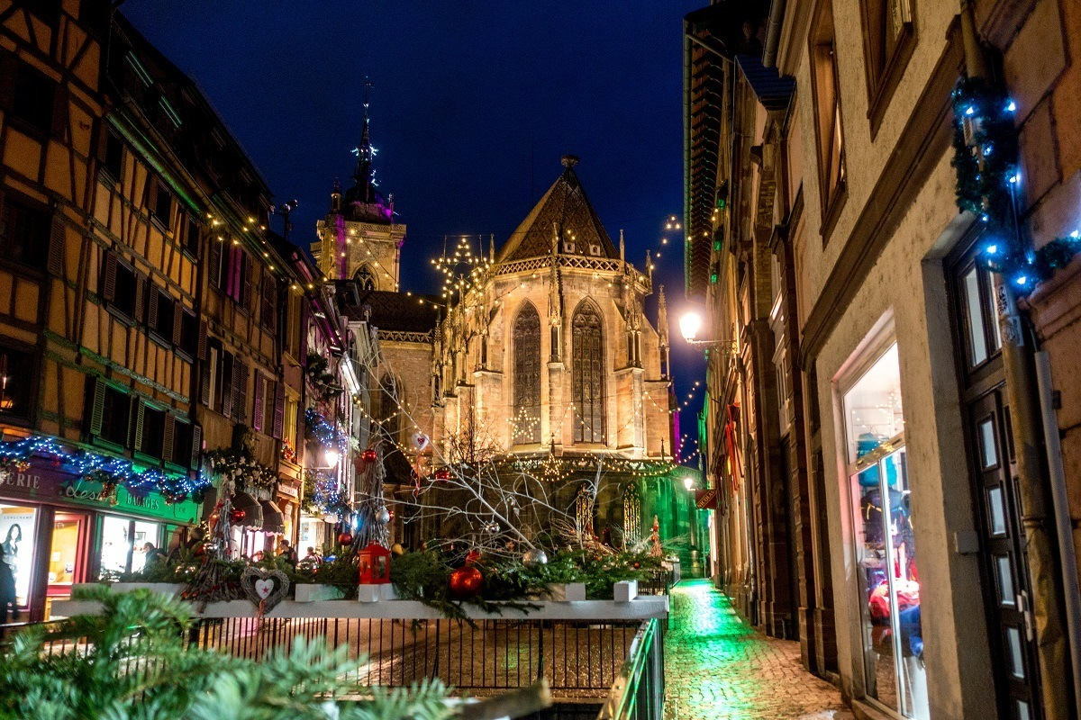 Church in Colmar, France, lit up for the holiday season