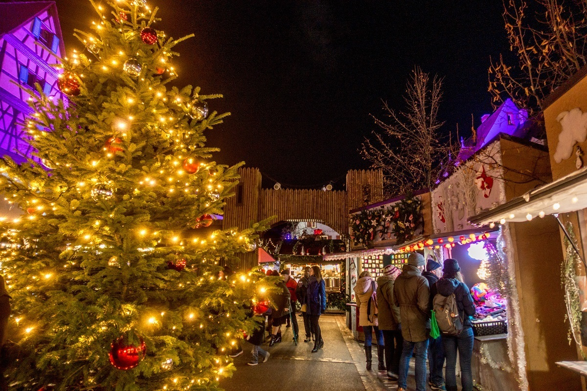 Christmas market stalls and festive decorations