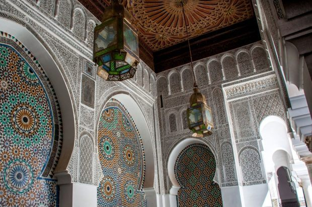 The courtyard at the University of Al Quaraouiyine is one of the top Morocco tourist spots in Fez