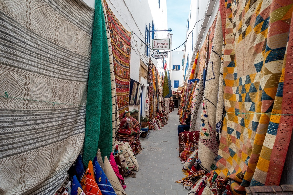 Rugs in the Essaouira medina. one of the UNESCO Morocco sites