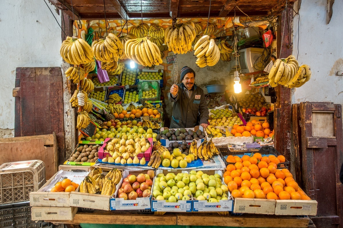 Fruit vendor in the medina of Fes Morocco