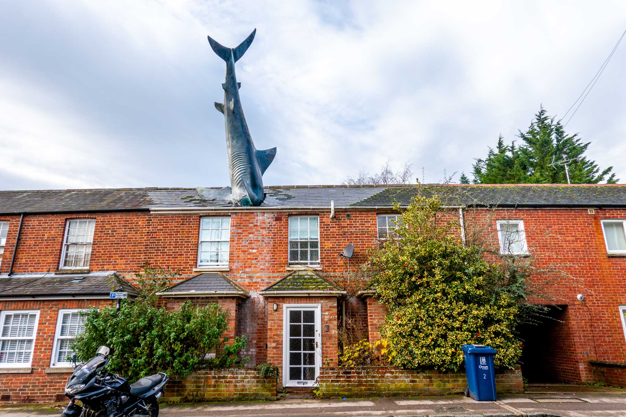 25-foot--long shark sculpture protruding from the roof of a home, the Headington Shark