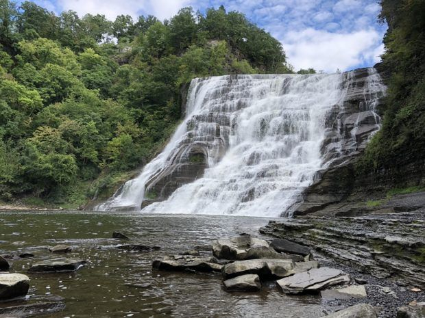 Ithaca Falls in Ithaca, New York, on a sunny day