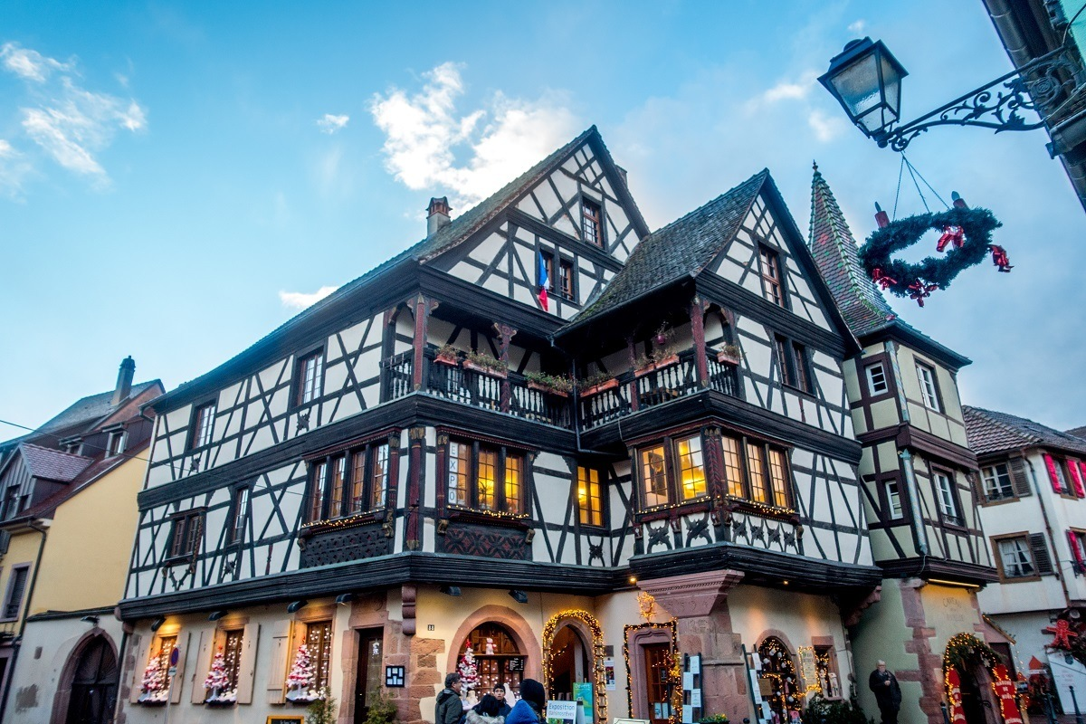 Half-timbered buildings and Christmas decorations in Kaysersberg, France
