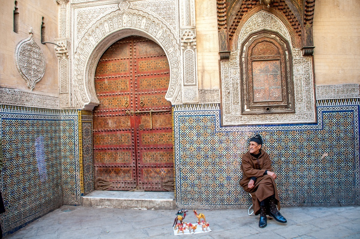Man selling items in Fez medina