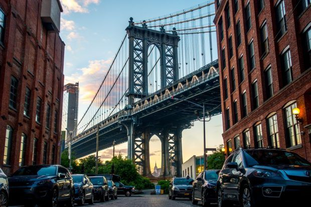 Down under Manhattan Bridge in Brooklyn, New York