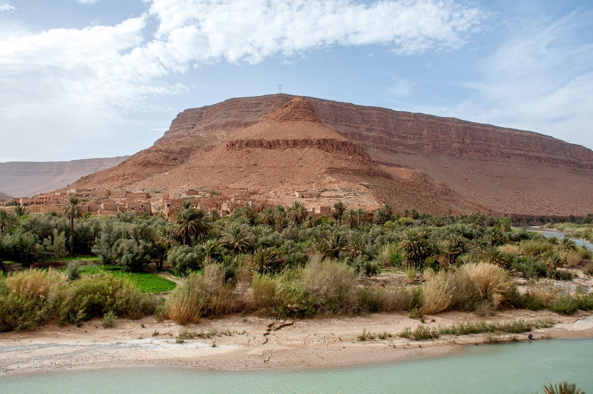 Desert oasis with sand, palm trees, and water on the drive from Fez to Merzouga Morocco