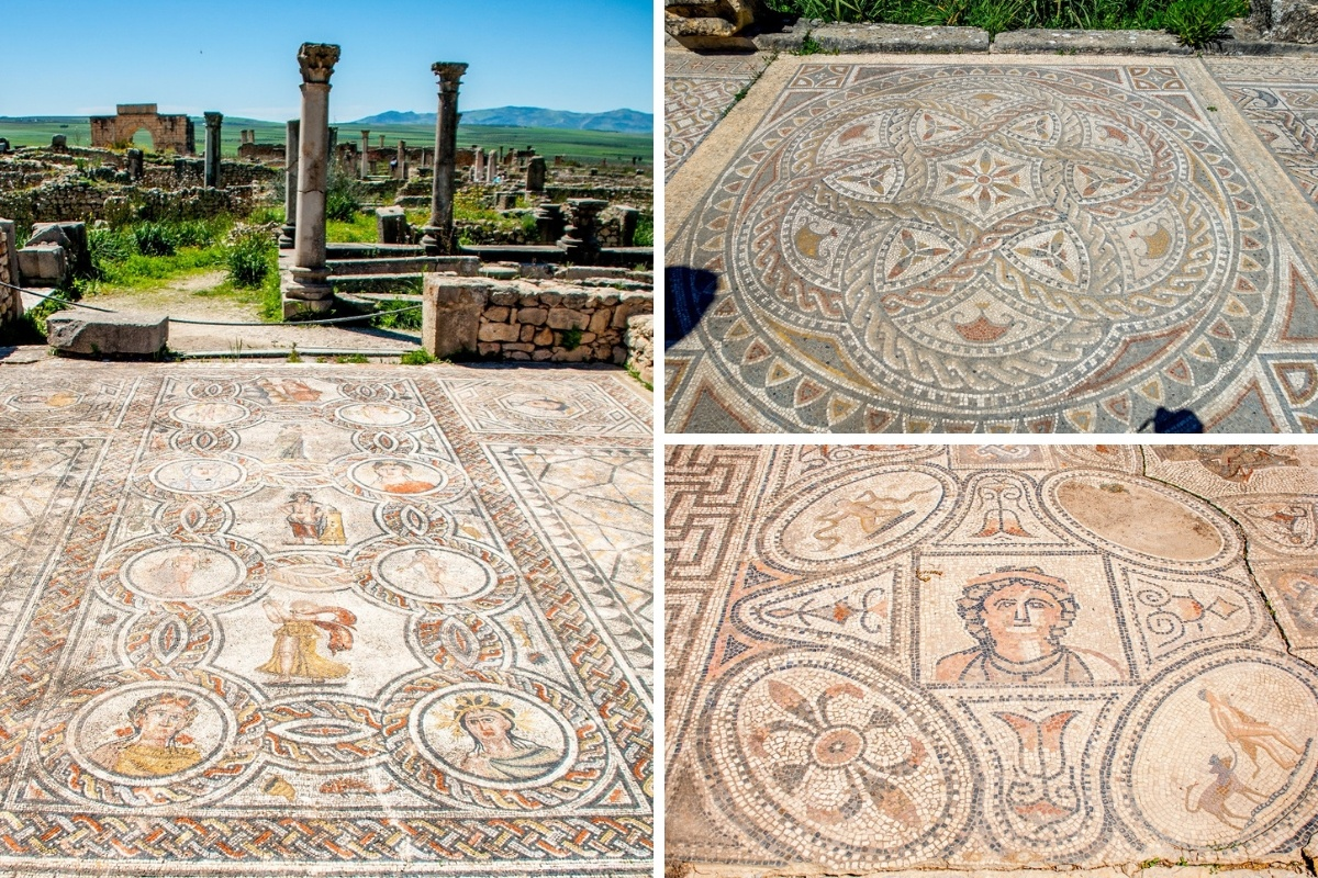 Photo collage of mosaics in Volubilis, one of the famous places in Morocco