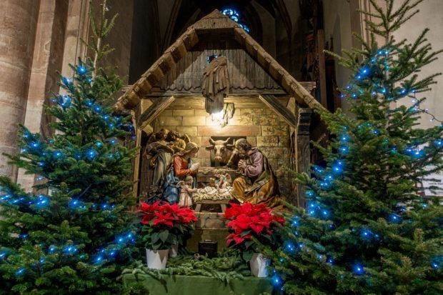 The nativity inside the Church of Saint Martin in Colmar France