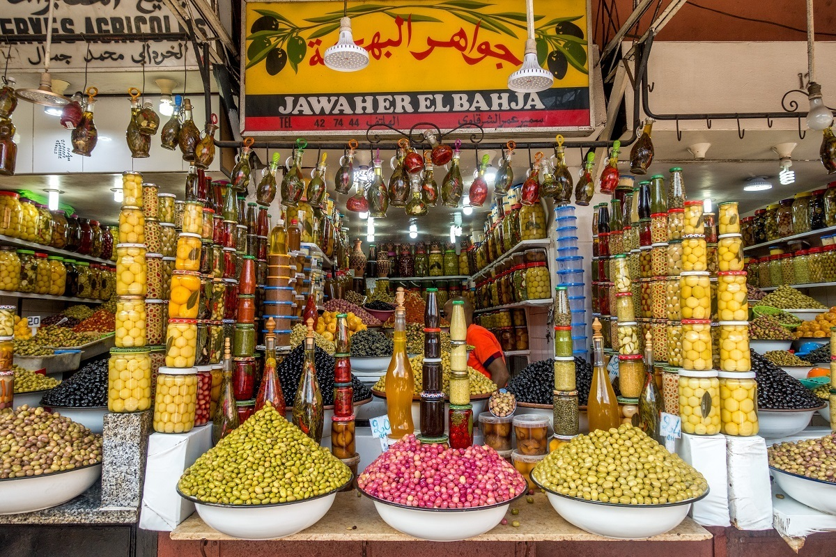 Sample olives and other foods in the medina in Marrakech Morocco