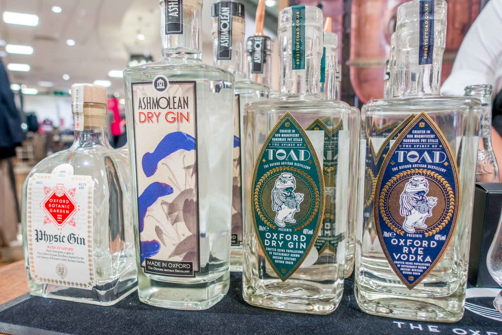 Bottles of craft spirits from The Oxford Artisan Distillery