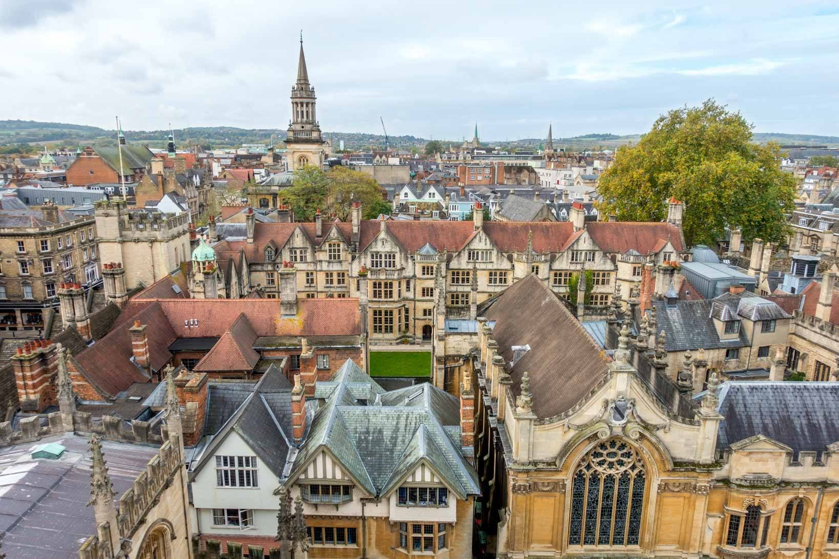 Seeing the city rooftops is one of the fun things to do in Oxford England.