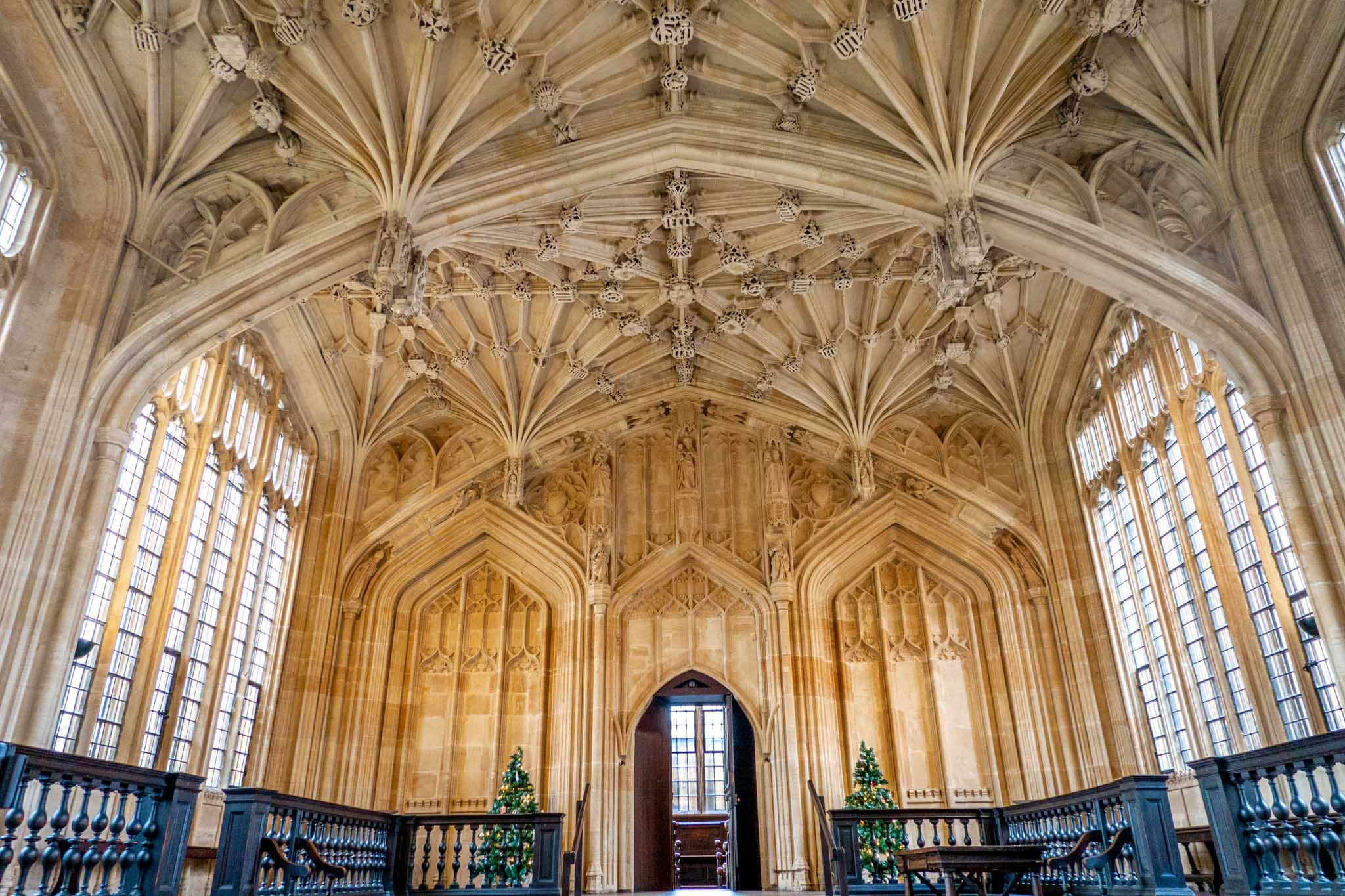 Ornate, vaulted ceilings of the 15th-century Divinity School room
