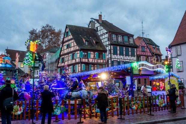 The children's market is a festive place in Colmar, Alsace