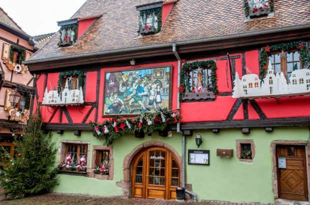 Building in Riquewihr, France, decked out for the Christmas season
