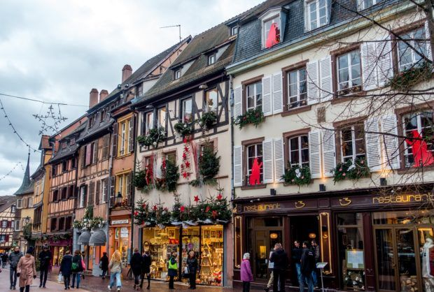 Rue de l'Eglise in Colmar France during the Christmas holidays