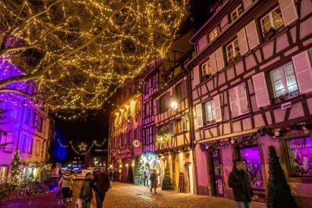 Rue des Tanneurs in Colmar, France, lit up at Christmas