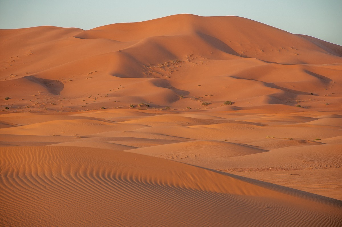 Sand dunes in the Sahara--visiting is an essential part of an Morocco itinerary