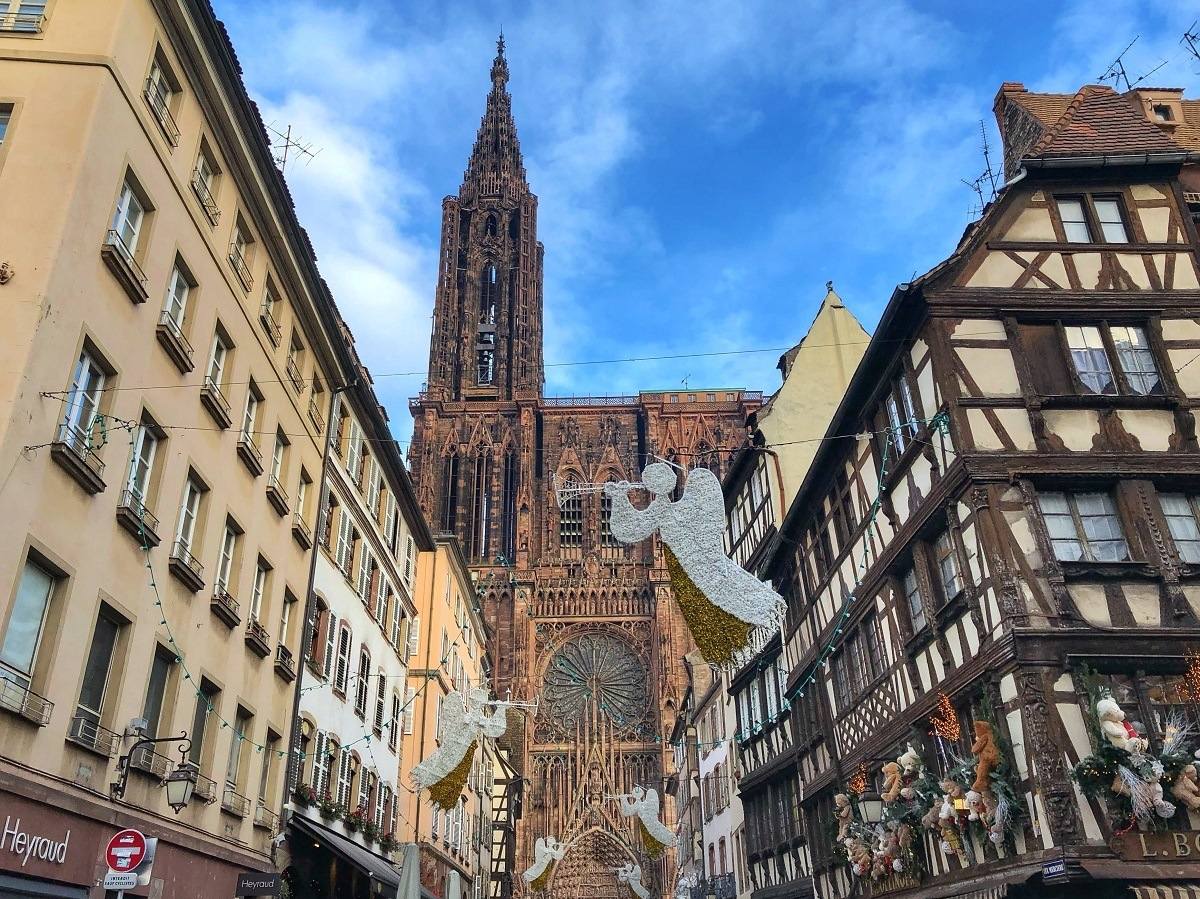 Strasbourg Cathedral in France with angels and Christmas decorations