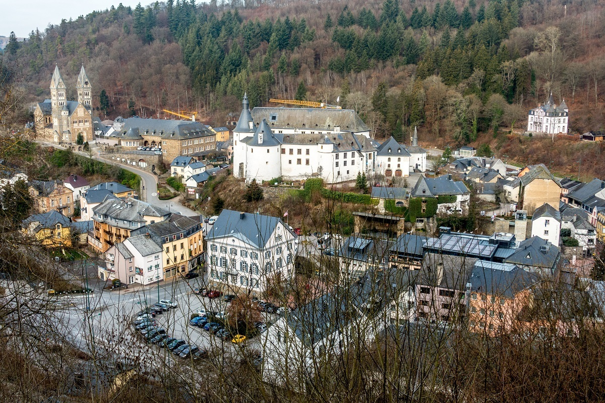 Overhead view of castle, church, and buildings of Clervaux, Luxembourg