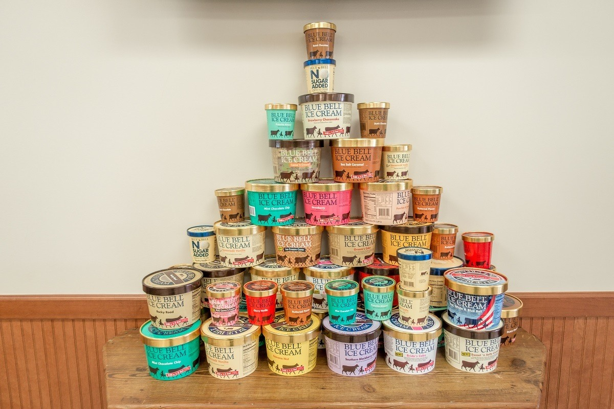 Stacked containers of of Blue Bell ice cream